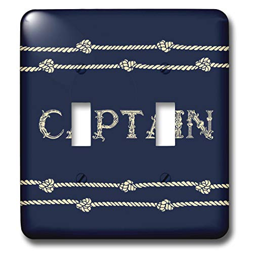 3dRose Russ Billington Nautical Designs - Navy Blue and Ivory Text- Captain with Rope Detail - Light Switch Covers - double toggle switch (lsp_291573_2)
