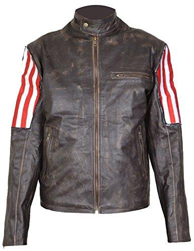 Men Vintage Biker Retro Motorcycle US Flag Moto Distressed Leather Jacket (2XL)