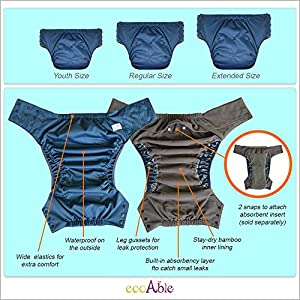 Pull Ups Cloth Diaper with Tabs – Special Needs Briefs for Big Kids, Teens and Adults by Ecoable