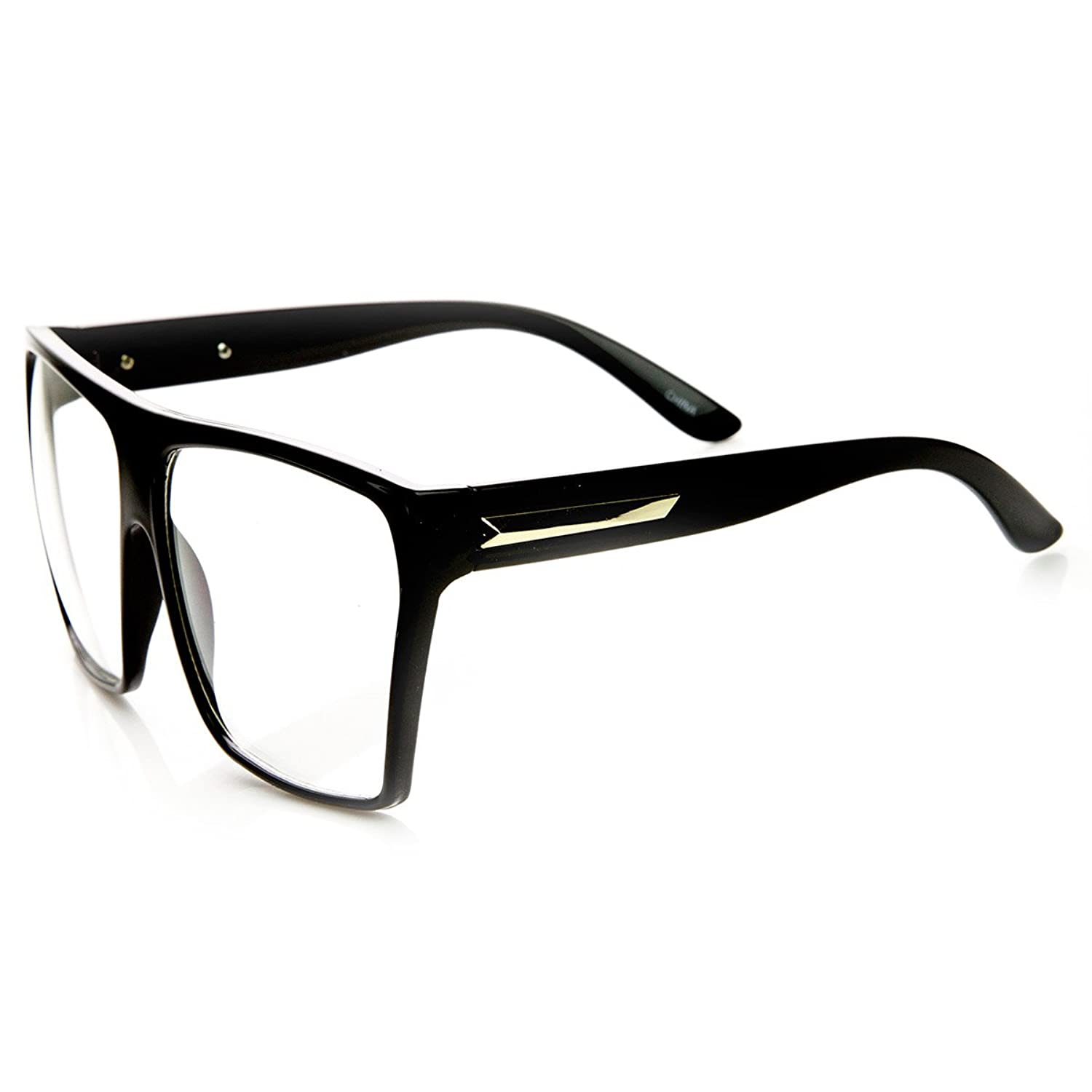 Amazon.com: Large Oversized Retro Fashion Clear Lens Square Glasses ...
