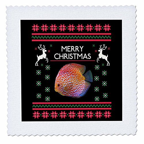 3dRose Sven Herkenrath Christmas - Merry Christmas Xmas and Snowflake with Discus Fish - 20x20 inch quilt square (qs 266162 8)