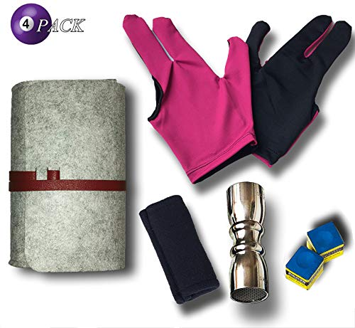 Pool Stick Accessories Kit [ Shaper, Scuffer, Tip Pick 3 in one Tool + Shaft Slicker Cleaner Tool + 3 Fingers Show Gloves 2pcs + Chalk 2pcs ] Great for Your Billiard Cue Care