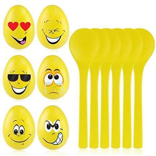 iBaseToy Egg and Spoon Race Game - 6 Sets of Wooden Spoons & Eggs with Cute Faces - Birthday Party Games for Kids and Adults