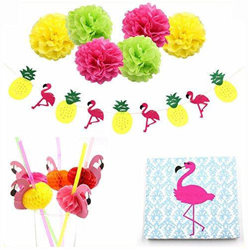 Sopeace Flamingo Pineapple Garland Banners Paper Pompoms Flamingo Straws Wood Napkins Pool Summer Time Party Tropical Flamingo (Pom Wood)