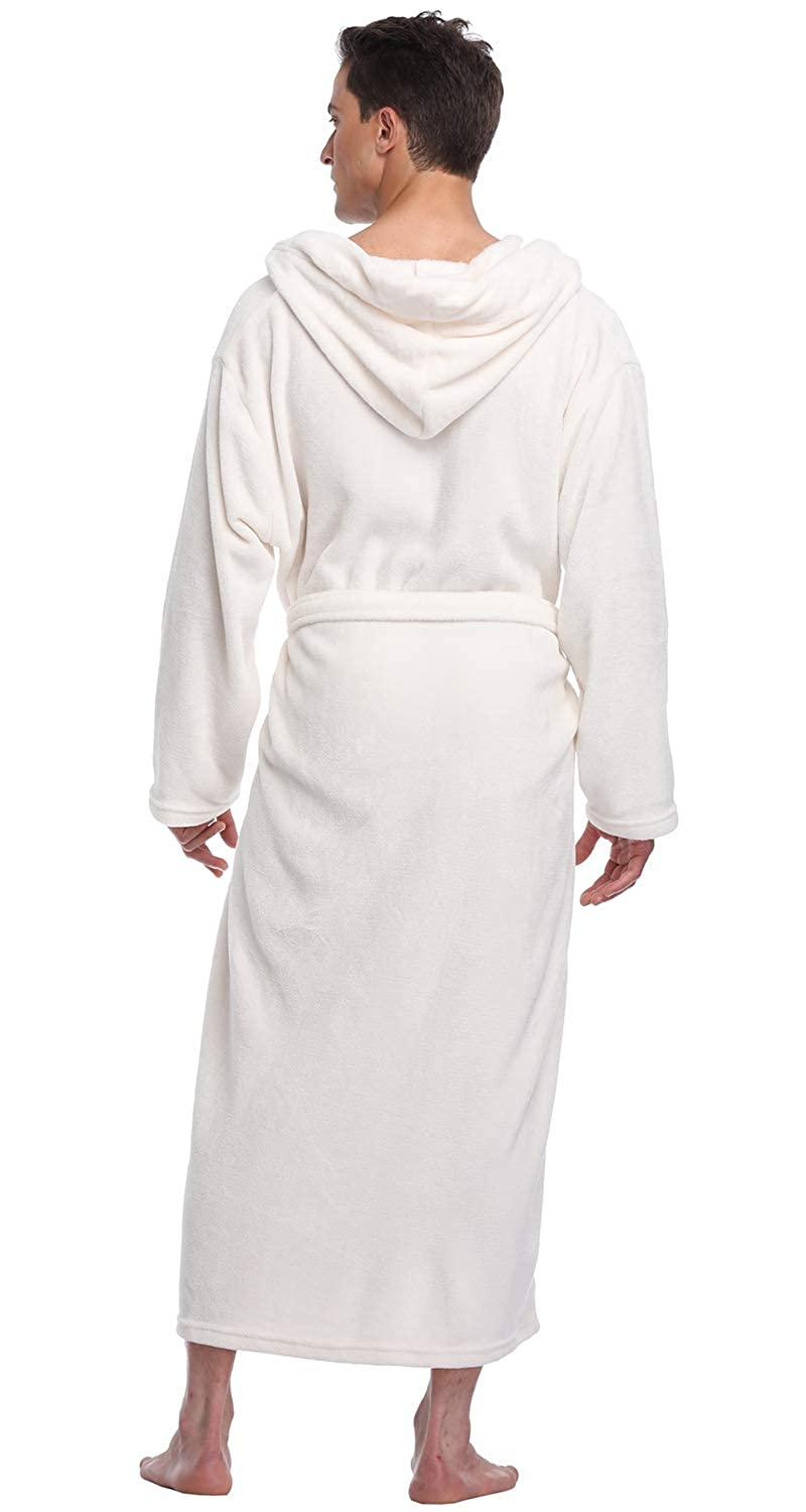 Mens Hooded Robe Long Plush Fleece Bathrobe Soft Spa Robe Jan01-Men hooded