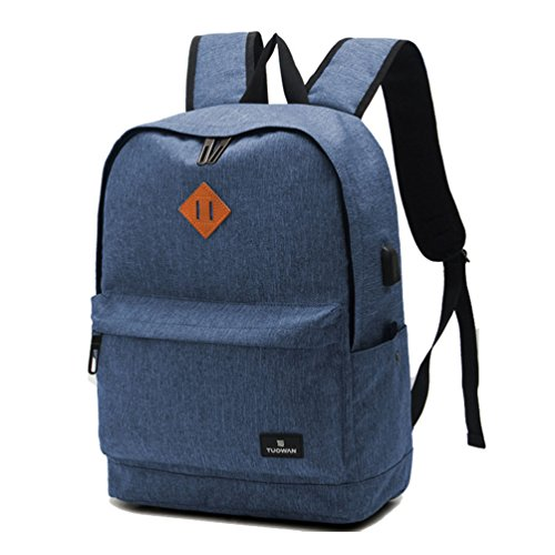 Bozdqun Navy College Teens laptop backpack with USB Charging Port School (Sharp Notebook Computers)