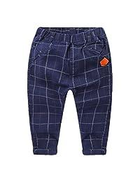 Motteecity Boys' Casual Plaid Long Pants