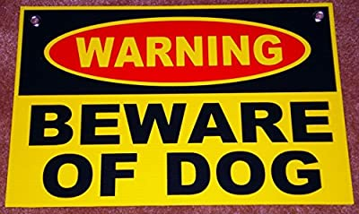 "1Set Imposing Unique Warning Beware Dog Sign Anti-Burglar Protection Message Holder Door Hanger Outdoor Neighbor Side Doors Protect Poster Security House Trespassing Lawn Pole Size 8""x12"" w/ Grommets"