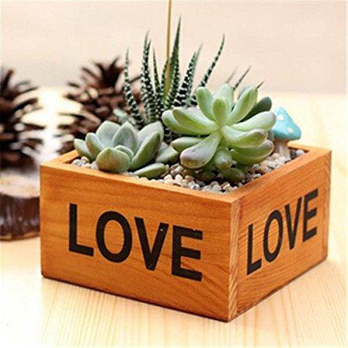 Retro Style Wooden Succulent Plants Square Flower Pot Garden Handmade Planting Flowerpot