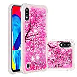 Miagon Liquid Clear Case for Samsung Galaxy M10,Soft Glitter Shockproof Cover Floating Bling Sparkle Shiny Heart Quicksand Liquid Clear Protective Case Cover-Cherry Blossoms