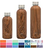 Simple Modern 25oz Bolt Water Bottle - Stainless Steel Hydro Swell Flask - Double Wall Vacuum Insulated Reusable Brown Small Kids Coffee Tumbler Leakproof Thermos - Wood Grain