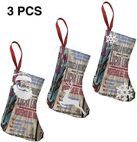 クリスマスの日の靴下 (ソックス3個)クリスマスデコレーションソックス レスリングポスター クリスマス、ハロウィン 家庭用、ショッピングモール用、お祝いの雰囲気を加える 人気を高める、販売、プロモーション、年次式