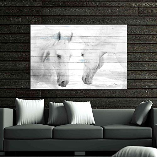 (Aitesi Art Canvas Print Art 'White Horses' 24x36-inch Gallery-Wrapped Wall Painting for Living Room Decor Ready to Hang (24x36inch))