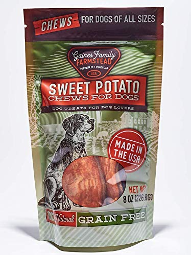Gaines Family Farmstead Sweet Potato Chews for Dogs - 100% Natural, American Grown and Made, Grain Free, Salt Free, Soy Free, No Artificial Flavors or Preservatives, 8 Ounce Bag