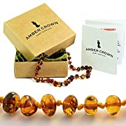 Amber Crown Baltic Amber Teething Necklace - Baroque Style Original Amber Color