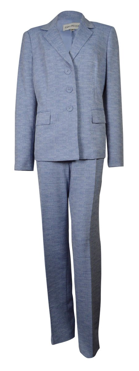 Evan Picone Women's Classic Time Woven Pant Suit (12, Navy/White)