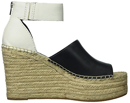 Dolce Vita Women's Straw Wedge Sandal Black/White Leather e8vfu