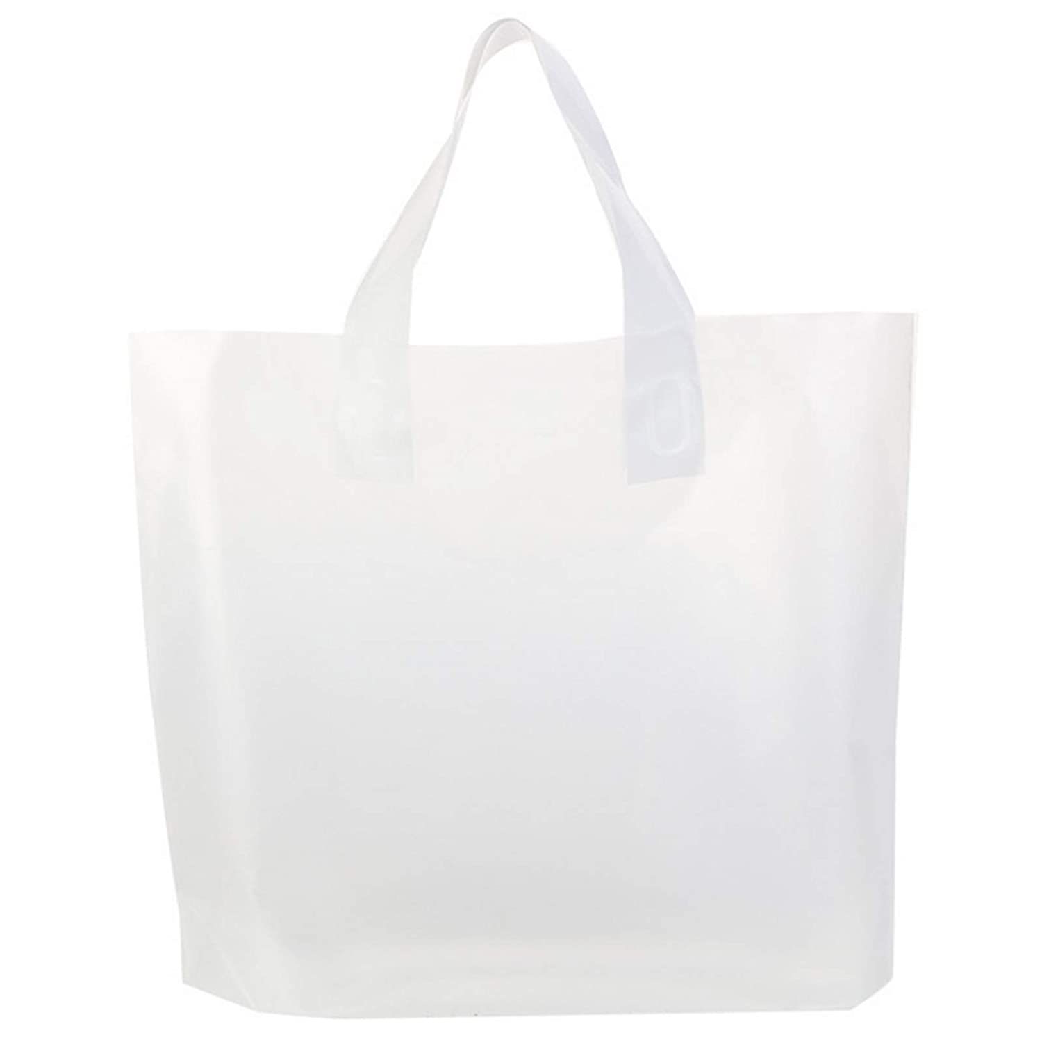 Gogmooi Clear Bags 100 Pcs Plastic Bags with Handles Bulk, Frosted Large Plastic Bags Soft for Shopping Bags, Gift Bags, Take Out Bags, High-Density Big Size 16