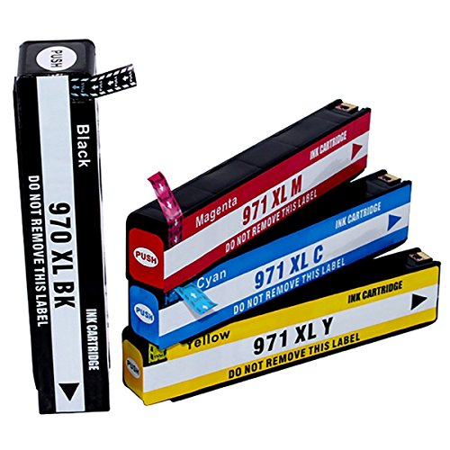 HOTCOLOR Combo Pack 4 Remanufactured For HP 970XL 971XL I...