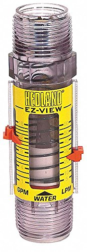 (Hedland H621-028 EZ-View Flowmeter, Polysulfone, For Use With Water, 4.0 - 28 gpm Flow Range, 1