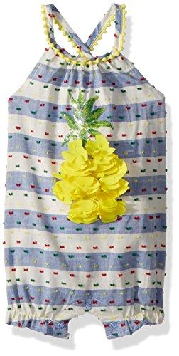 Pineapple Bubble (Mud Pie Baby Girls Pineapple Stripe Sleeveless Bubble Romper Playwear, Blue, 9-12 Months)