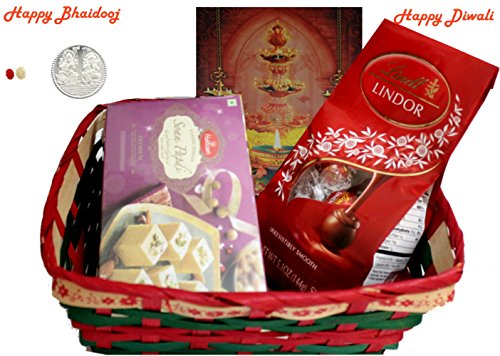 Diwali / Bhaidooj Gift Hamper - Haldiram Soan Papdi, Lindt Lindor Chocolate in a Beautiful Basket