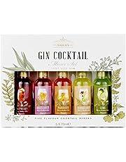 Modern Gourmet Foods, Gin Cocktail Mixer Cadeauset, Set van 5 Smaken Inclusief Limoen, Vlierbloesem, Roos Bloesem, Mandarijn en Framboos (Bevat Geen Alcohol)