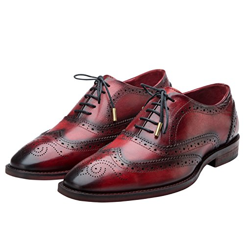 Handcrafted Leather Oxford Dress Shoes - Lethato Brogue Oxford Handcrafted Men's Genuine Leather Lace up Dress Shoes with Golden Color Metal Aglets Shoelace Tips - Wine Red