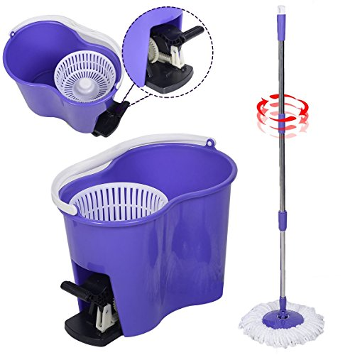 Spinning Mop Easy Floor Mop W/Bucket 2 Heads 360 Rotating Head Purple from Unbran
