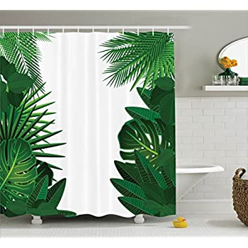 Amazon.com: Ambesonne Leaves Decor Shower Curtain Set, Exotic ...
