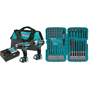 Makita CT226 12V Max CXT Lithium-Ion Cordless Combo Kit with 70-Piece Impact Drill-Driver Bit Set