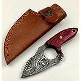 "ASH tn2d Damascus steel custom handmade hunting punch knife 5"""