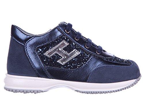 Hogan scarpe sneakers bimba bambina pelle nuove interactive h flock zip glitter