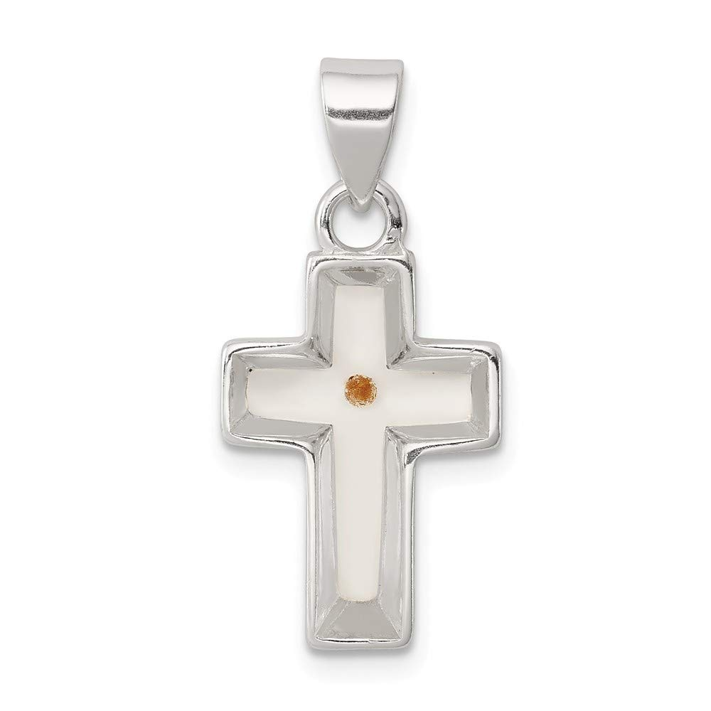 925 Sterling Silver Solid Polished Enameled With MuStard Seed Cross Pendant