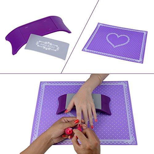 Elite99 Plastic & Silicone Nail Art Cushion Pillow Salon Hand Holder Nail Arm Rest Washable Manicure Accessories – Purple