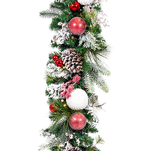 [9 Foot Artificial Christmas Garland] - Frosted Wonderland Collection - Red White Decoration - Pre Lit with 100 Candy Cane Colored LED Mini Lights - Includes Remote Controlled Battery Pack with Timer (Lit Garland White Christmas Pre)