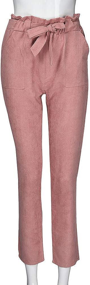JiaMeng-ZI Pantalones para Mujer Slim fit Pantalones Deportivos Color s/ólido Casual Long Trousers Cintura Alta Drawstring Long Pants