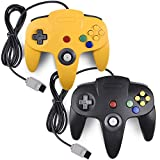 miadore 2 Packs Classic 64 Controller Joystick for N64 Video Game System N64 Console (Black and Yellow)