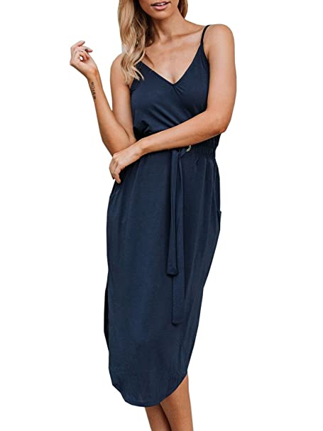 Lueyifs - Vestido - Cóctel - Sin Mangas - para Mujer Azul Oscuro Small