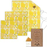 Reusable Beeswax Wrap Bundle /Set of 3 Wraps (1 Small - 1 Medium - 1 Large) and 1 Cotton Bag/Eco Friendly Way for Food Storage / Pattern and Color Will be Sent Random