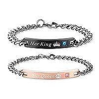 Regalo para el amante Su reina Su rey Pulseras de pareja de acero inoxidable para mujeres, hombres, conjunto a juego de joyas (Su reina, su rey)