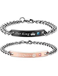 Gift for Lover His Queen Her King Stainless Steel Couple Bracelets for Women Men Jewelry Matching Set