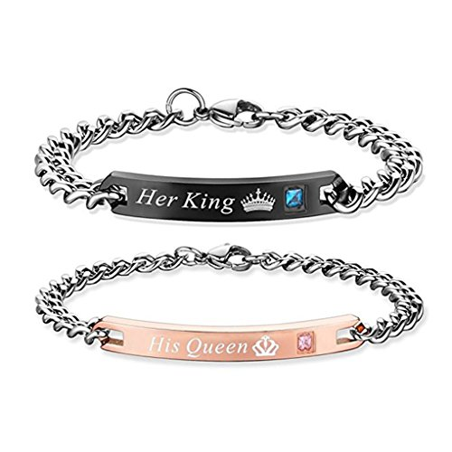 Gift for Lover His Queen Her King Stainless Steel Couple Bracelets For Women Men Jewelry Matching Set (His Queen Her - Queens And Shop Kings