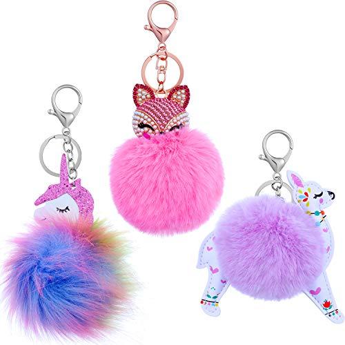 3 Pieces Animal Pom Pom Keychain Cute Fluffy Key Ring for Women Bag Accessories (Purple Alpaca Unicorn)
