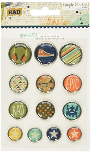 Simple Stories So Rad Self-Adhesive Bradz (13 Pack) by Simple