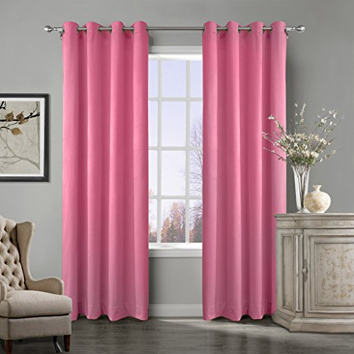 COFTY Super Soft Matt Luxury Velvet Curtain Drape Rose 50Wx102L Inch(set of 2 panels) - Nickle Grommet - BIRKIN Collection Classroom| Theater| Bedroom| Living Room| Hotel (Polka Dot Eclipse)