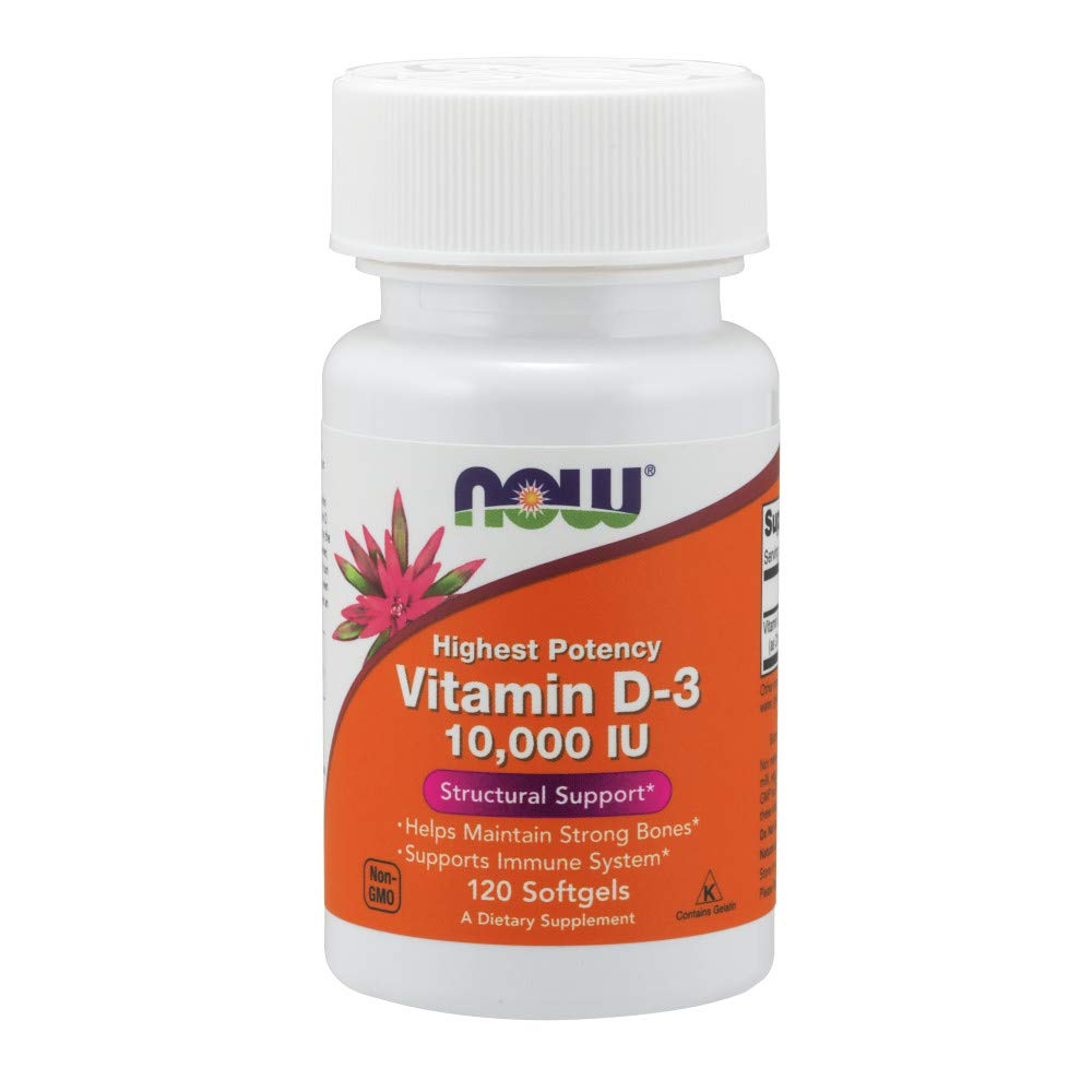 NOW Supplements, Vitamin D-3 10,000 IU, Highest Potency, Structural Support*, 120 Softgels