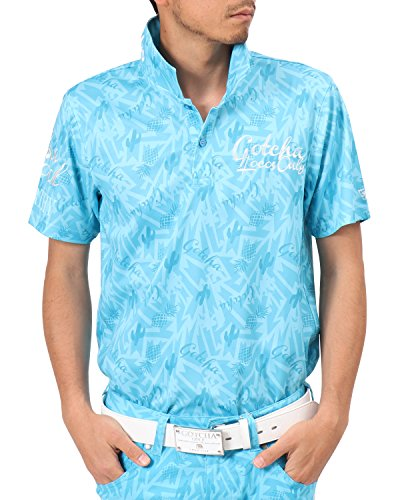 [ガッチャ ゴルフ] GOTCHA GOLF ポロシャツ メキシカン柄ドライポロ 182GG1217 ターコイズ Sサイズ