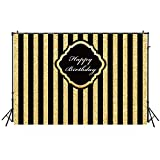 5x6.5ft Washable photography Backdrops Adults Children Birthday Party Banner Black and Gold Stripes Glitter Glamour Sparkle Photo Studio Booth Background