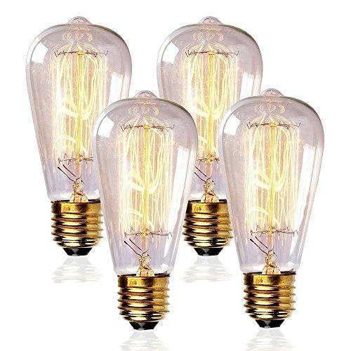 Edison Bulbs 60w Incandescent Light Bulb E26 Base ST64 Type 120V Vintage Filament Bulbs for Home Lighting Fixtures Dim Warm Light 3000K,4PACK